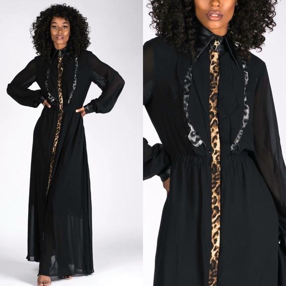 3abe14cbd36 TOV Holy Dresses | Leopard Accent Black Chiffon Maxi Dress | Poshmark